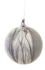 "4.5"" Gunmetal Gray Glitter Marbleized Glass Ball Christmas Ornament"