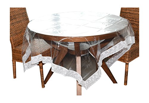 Home-X Clear Plastic Tablecloth. 60-Inch x 84-Inch Table Cover with Decorative Border