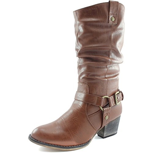 (DailyShoes Women's Slouch Mid Calf Ankle Strap Buckle Western-01 Style Cowboy Boots, 10)