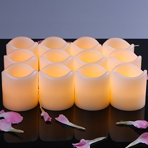 Set of 12 Flameless LED Candles Yellow Bright Flickering Light Pillar Flameless Artificial tealight for Wedding,Votive, Yoga and Decoration (Battery include)