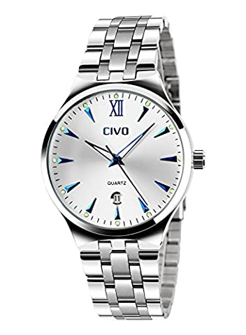 CIVO Men's Luxury Stainless Steel Band Waterproof Business Casual Wrist Watch Date Calendar (Blue) (Watch Waterproof Prime)