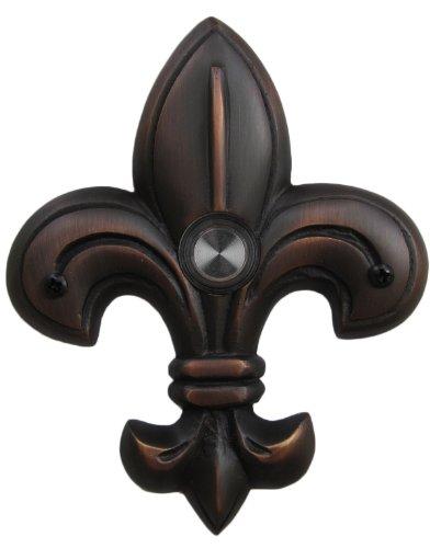 Waterwood Brass Medium Fleur De Lis Doorbell in Oil Rubbed Bronze (De Door Fleur Lis)