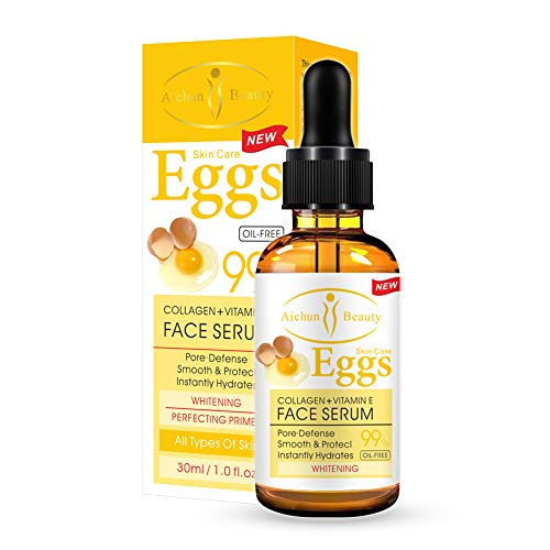 Yiitay Face Serum Face Essence with Collagen Vitamin E Eggs Serum Anti Ageing Moisturiser, Hydrates, Shrink Pores, Firming, Lifting, Smoothing, Facial Serums Night & Day Serum 30ml