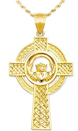 US Jewels And Gems New 14k Yellow Gold Irish Celtic Cross Pendant Charm with Necklace