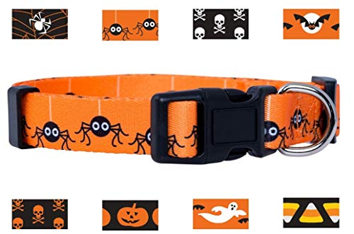 Native Pup Halloween Dog Collar (Medium, Spiders) -