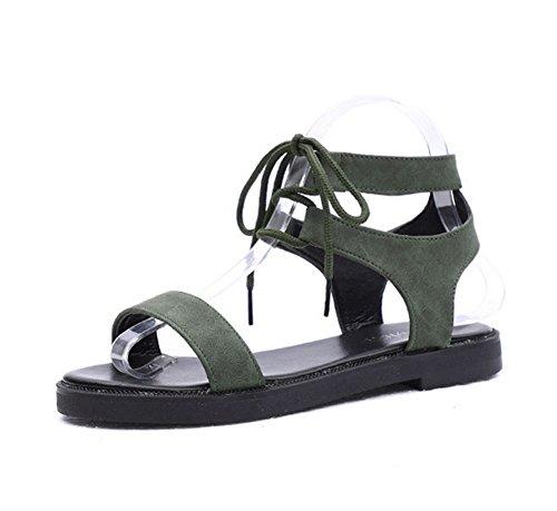 selvatiche da scarpe piatta con donna aperta 1 KUKI casual da studente Fibbia 0qaHSH8gv