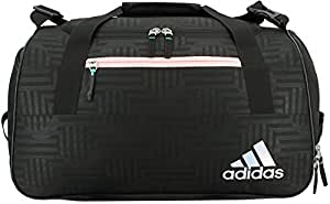 adidas Squad III Duffel Bag, One Size, Black Dot Punch Emboss/Black/Haze Coral/Reflective