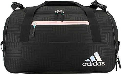 Price comparison product image adidas Squad III Duffel Bag, One Size, Black Dot Punch Emboss/Black/Haze Coral/Reflective