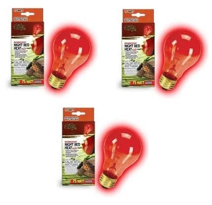 Red Heat Incandescent Bulb - Zilla Incandescent Bulb, Night Red Heat, 75 Watt (3 Pack)