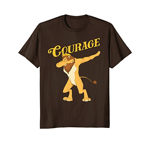 Mens Cowardly Lion Dab T-Shirt - The Wizard Of Oz TShirt -Courage Small Brown