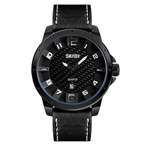 Daisy-OU Fashion Watch Men Quartz Analog Sports Watches Leather Strap Waterproof Watch Date Men Wristwatches Relogio Masculino 9150,Black