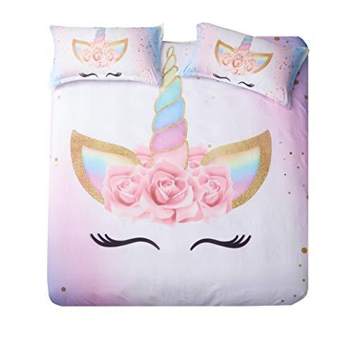 (DEERHOME Unicorn Bedding 3 Piece Flower Girl Duvet Cover Set Cartoon Unicorn Bedspreads Cute Duvet Covers for Teens,Boys and Girls (#03, Twin))