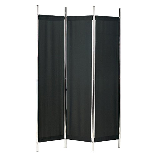 Adesso HX1111-01 Rita Folding Screen, Black/Chrome Panel Folding Bath Screen