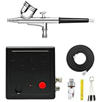 HUBEST Portable Dual Action Mini Air Compressor Airbrush Kit for Make up Art Painting Tattoo Spray Model with Airbrush…