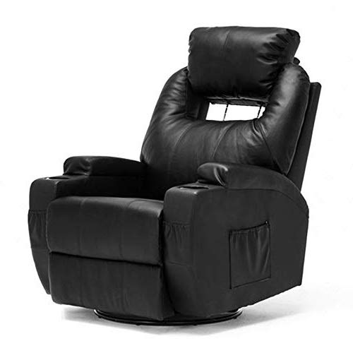 Full Glider Swivel Recliner Leather (Mecor Massage Recliner Chair Bonded Leather Heated Recling Living Room Lounge Sofa Chair w/Cup Holder/Remote (Black-Adjustable))