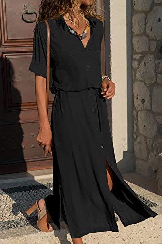 Vestiti Donne Vestiti Black Maniche A Mupoduvos Le Collo Lunghe Partito Casual Camicia Maxi 1fRPq