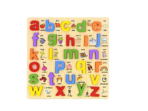 Alphabet Puzzles Board, Wooden Letters Jigsaws Toy Early Learning Toys(Lowercase Letters) (Color : A, Size : 30X30X1.3cm)