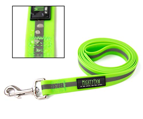 - Mighty Paw Waterproof Dog Leash, Biothane Alternative, Smell-Proof Active Dog Gear, Coated Nylon Webbing with Reflective Stripe. (Green, Standard)
