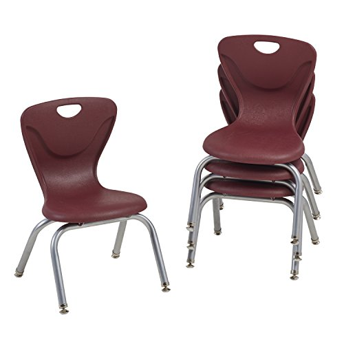 "UPC 763960603598, ECR4Kids 12"" Contour School Stacking Student Chair, Molded, Burgundy (Set of 4)"