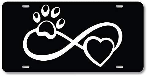 SmartCows Infinite Paw Love Cats /& Dogs Animals Front Metal Aluminum License Plate Vanity car tag Home Door Sign 6 x 12 with 4 Holes