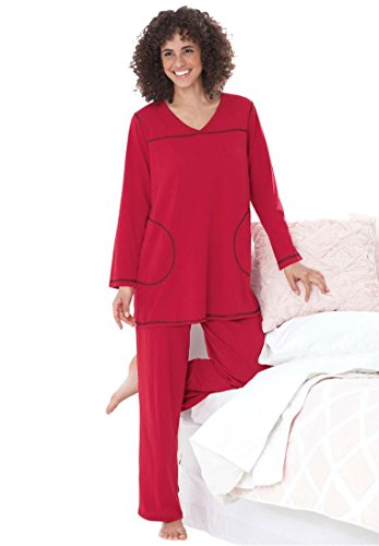 Dreams & Co. Women's Plus Size Topstitched Pajamas – Medium, Classic Red Black
