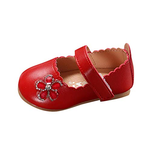 Baby Mary Jane FAPIZI Summer Girls Solid Leather Cartoon Flower Shoes Hole Princess Single Casual Shoes Red