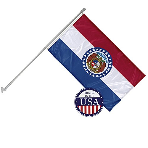 Vispronet - Missouri State Flag and 6ft Flagpole with Wall Mounting Bracket - 3ft x 5ft Knitted Polyester Flag, State Flag Collection, Flag Printed in The USA