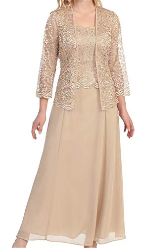 Chiffon Mother of The Bride Dresses Long Evening Formal Dress Lace Jacket Champagne