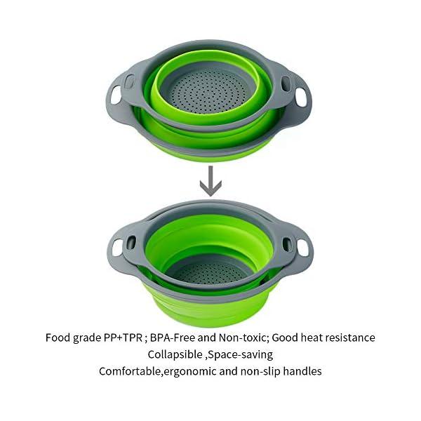 41%2Bq0VazA3L Colosun Zusammenklappbares Sieb-Set, tragbar, faltbar, Filterkörbe, Schüsseln, Behälter, Gummi-Sieb für Küche, Camping…