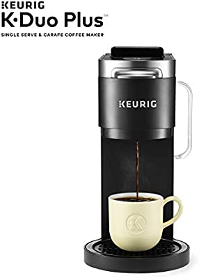 Amazon Com Keurig K Duo Plus Coffee Maker Single Serve And 12 Cup Carafe Drip Coffee Brewer Compatible With K Cup Pods And Ground Coffee Black Kitchen Dining