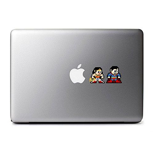 - 8-Bit Superman and Wonder Woman Decals for MacBook, iPad Mini, iPhone 5S, Samsung Galaxy S3 S4, Nexus, HTC One, Nokia Lumia, Sony