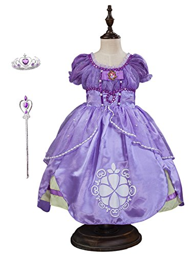Familycrazy Princes Sofia Costume Dress with Tiara, Wand for Birthdays, Halloween, Parties -