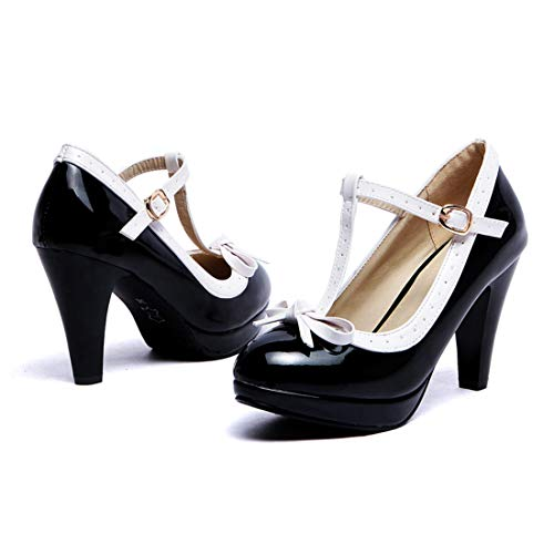 Susanny Women's Chic Sweet Round Toe T-Strap Bows Adorable Buckle High Cone Heel Mary Janes Dress Black2 Pumps 7 B (M) US (Womens Chunky Shoe Sexy Heel)