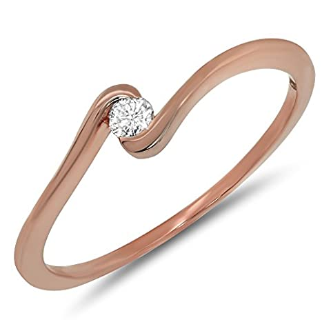0.07 Carat (ctw) 10k Gold Round Diamond Ladies Solitaire Bypass Swirl Engagement Promise Ring 1/20 CT - Rose-gold, Size (Promise Ring Size 5 White Gold)