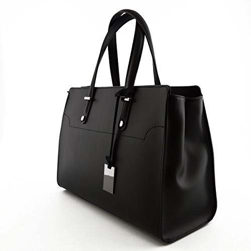 Bolso De Mano Para Mujer En Piel Verdadera Con 2 Compartimentos Color Negro - Peleteria Echa En Italia - Bolso Mujer