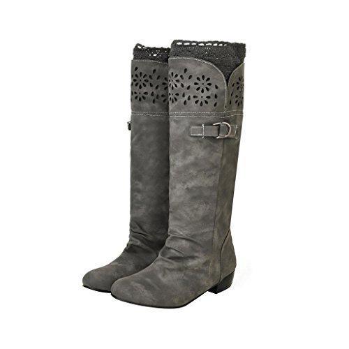 Dear Time Women Suede Fashion Leisure Knee Boots Gray rhF4S39N