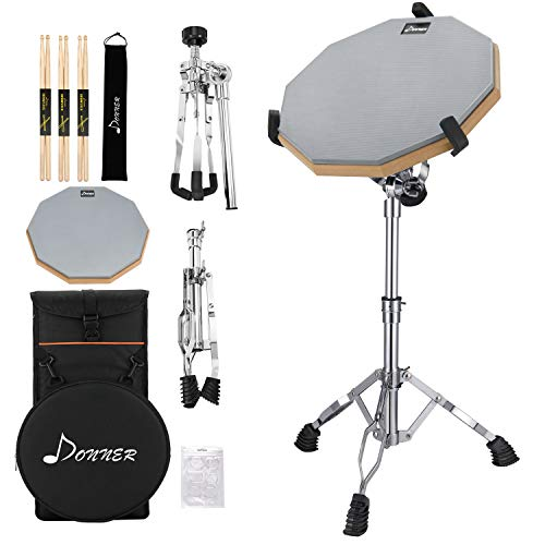 Donner Drum Practice Pad With Snare Drum Stand Adjustable Kit, Included 12 Inches Drum Pad Double Sided with Drumsticks, Fit 10