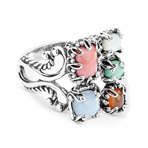 Carolyn Pollack Sterling Silver Orange Carnelian, Blue Lace Agate and Green Variscite Gemstone Ring Size 10