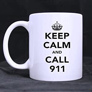 "White Ceramic Mug With Fashion Simple Design ""KEEP CALM AND CALL 911 "",Simple White Mug Coffee Mug 11 Ounces Great Gift Choice"