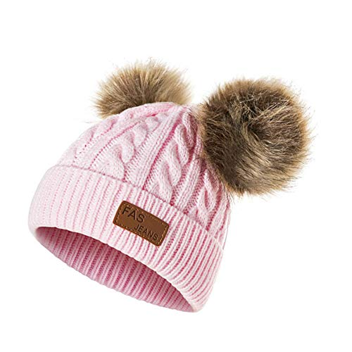 Infant Toddler Beanie Woolen Hat  Pure Color Winter Twist Double Pom Pom Wool Knitted Cap for 0-3 Years Old (0-3 Years Old, E- Pink)