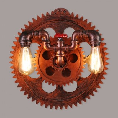 dingming Distressed Copper 2 Lights Gear Pipe Industrial Sconce Wall Lamp