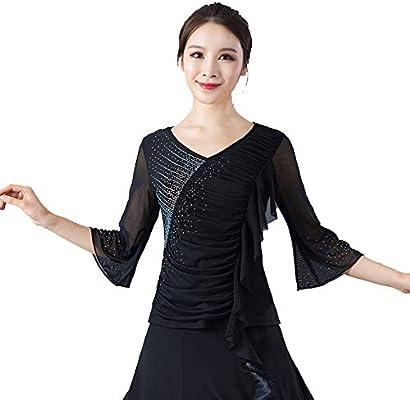 FUYY Vestido De Baile para Mujer Ropa De Baile Latino Danza Moderna Danza Nacional Estándar Camisa De Manga De Siete Puntos Adelgazamiento Delgado Negro Rojo Morado Tres Colores Opcional,Black-XXL: Amazon.es: Deportes y