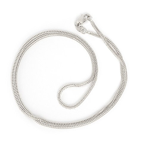 Beauniq 14k White Gold 1.2 Millimeters Square Wheat Foxtail Chain Necklace, 18 Inches