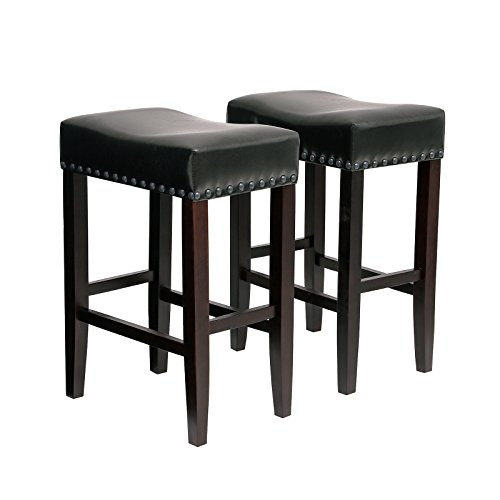 "SONGMICS Set of 2 Counter Stools, Well-Padded Ergonomic Bar Stools, Solid Wood Legs, PU Cover, Seat Height 26.4"", with Footrest, Dark Brown ULDC37BR"