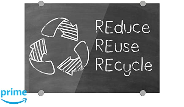 Reduce Reuse Recycle Green Chalkboard Premium Acrylic Sign 18x12 5-Pack CGSignLab