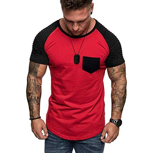(Men Summer Blouse, JOYFEEL Casual Patchwork Slim Fit Raglan Shirt Pleats Short Sleeve Pattern Outdoor Sport Top)