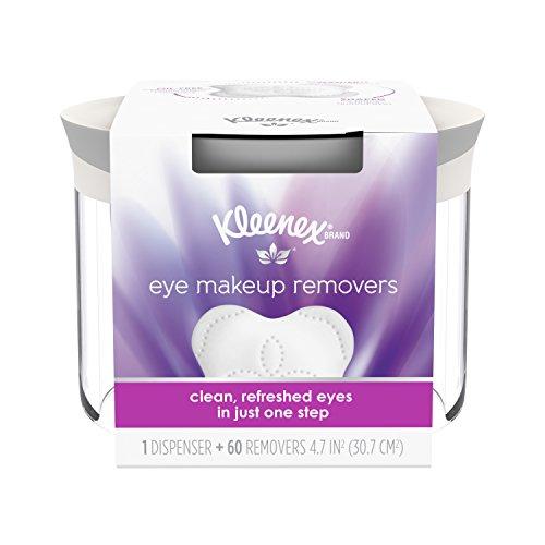 Kleenex Moist Eye Makeup Remover, Refillable Dispenser & Removers, 60 Pads