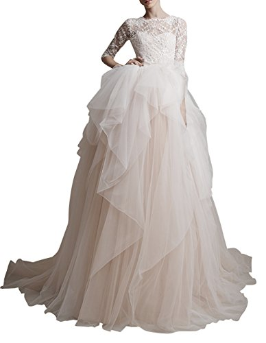 DAPENE® Women 2014 New Half Sleeve V-Back Bridal Gown Lace Wedding Dress