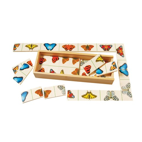 Butterfly Dominoes (Butterfly Dominoes Game For Kids with 27 Brightly Colored Dominoes and Wooden Storage Case)