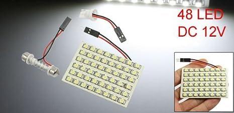 Amazon.com: eDealMax vehículo Blanca 1210 Bombilla 48 SMD LED w adaptador de Adorno T10: Automotive